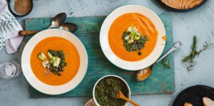 Rustic Sweet Potato & Bean Soup with Kaffir and Lemongrass
