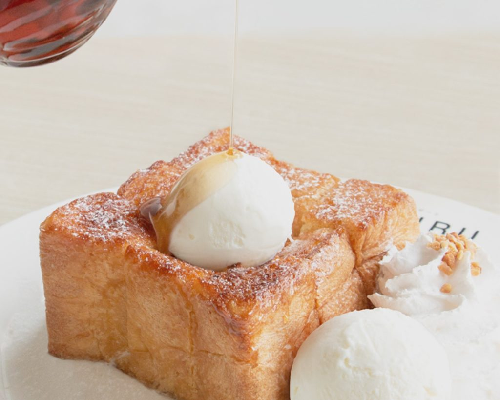 thick toast with ice cream on top