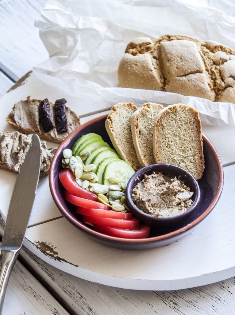 vegan foie gras with bread and condiments