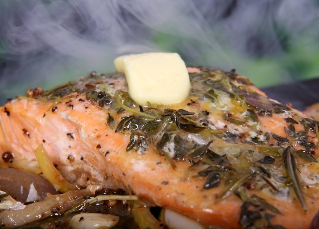 steamed salmon fish