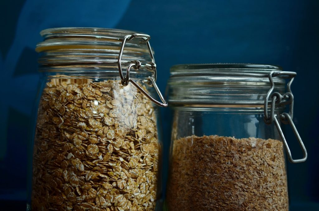 grains and legumes and cereal in jars