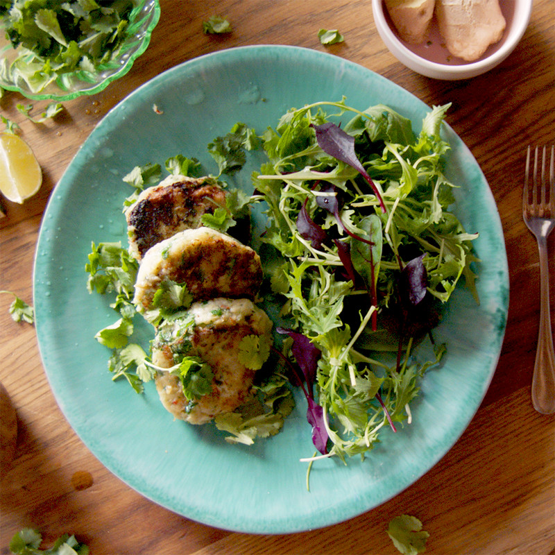 thai style fish cakes with salad
