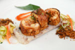 Crispy Rendang Chicken Roulade with Lontong and Acar