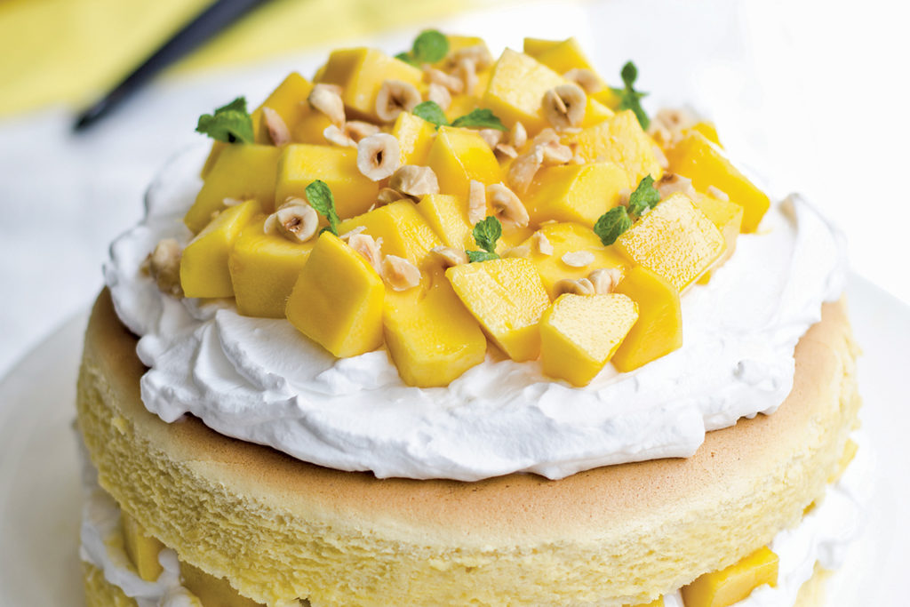 Passion Fruit Cake Topped With Mango