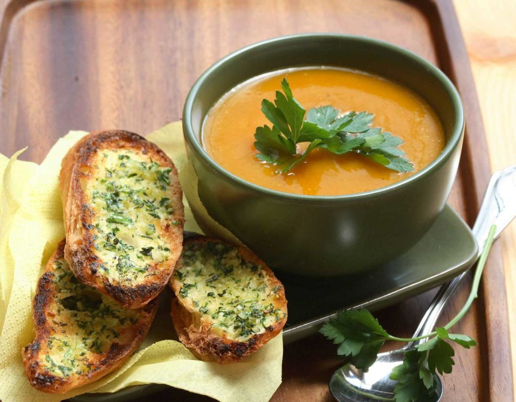 pumpkin soup with garlic bread