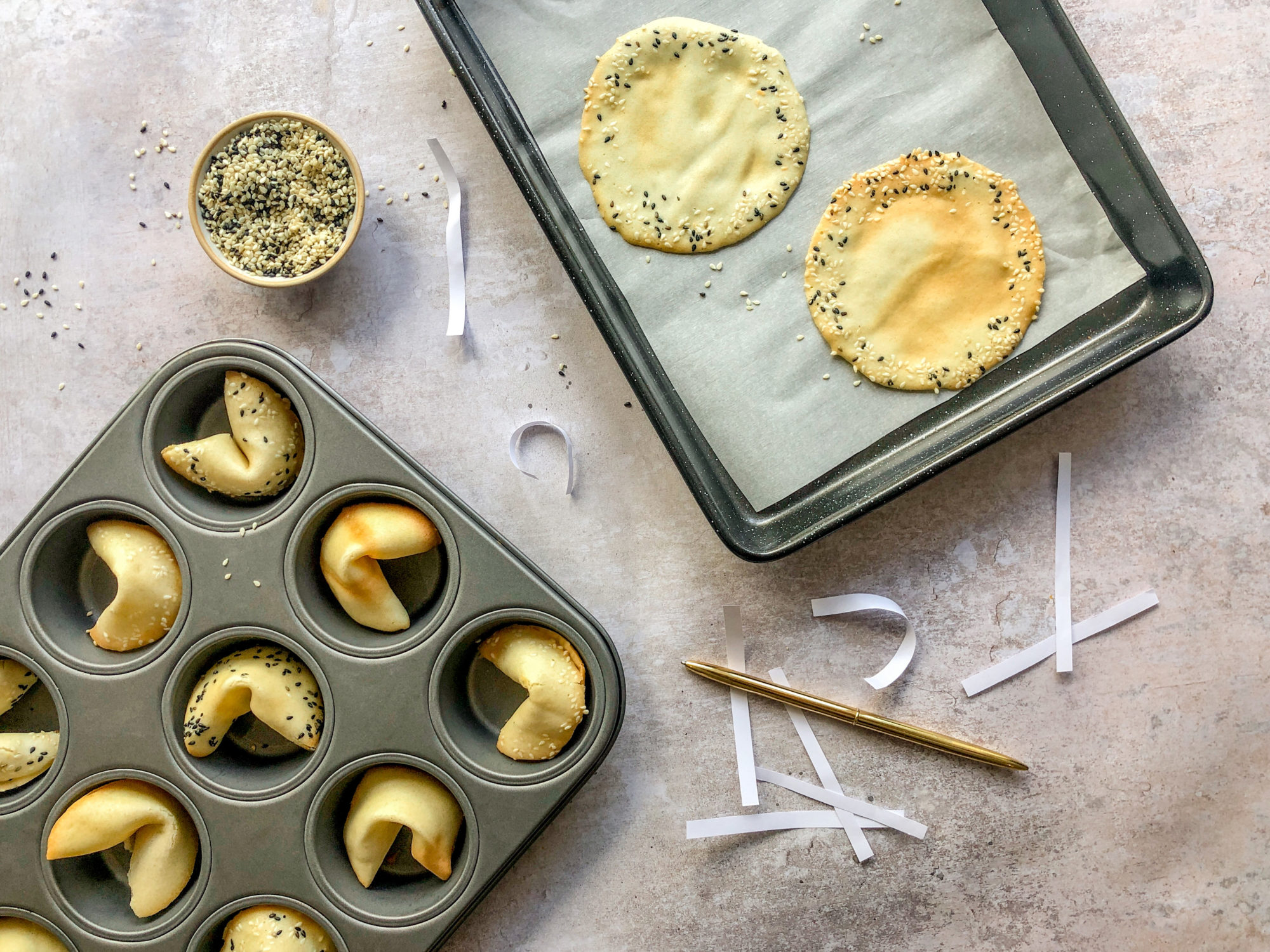 fortune cookies in baking tray